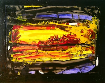 """Abstract painting titled """"A city"""" the night"""
