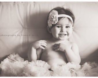 Vintage inspired ivory and lace flower trio headband baby baptism soft stretch elastic newborn to adult