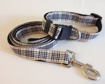 Preppy Fun Black Tan Plaid Tartan Dog Collar and Leash. Classic!  Purchase Together or Separate