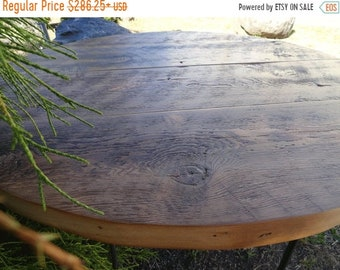 Limited Time Sale 10% OFF Old Reclaimed Barnwood - Round Dining Table, hairpin legs, Industrial, rustic, character