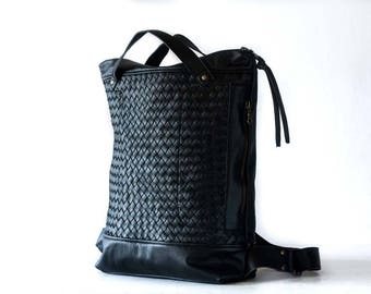 Black hand woven leather backpack, laptop backpack work simple soft leather bag with zipper knapsack macbook 13 daypack - The Minos Bag