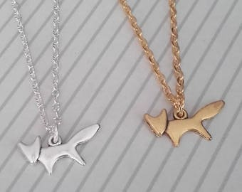 fox necklace choose silver or gold wildlife gifts charm animals