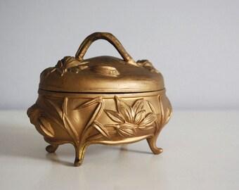 Gold Jewelry Box, Art Nouveau Casket, 1900s Repousse Metal Flowers, Hollywood Regency, Antique Storage Container, Vanity Boudoir Decor