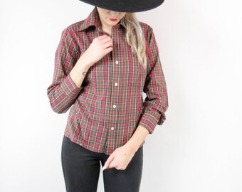 SALE---60s Boys Plaid Button Up Oxford Shirt, Vintage Red and Green Plaid, Size Small Medium, Fall Autumn, 50s 60s 70s, Long Sleeved Shirt