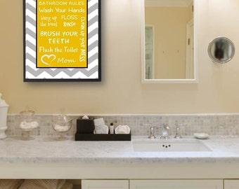 Kids Bathroom Art Decor Bathroom Artwork Printable Art Print Instant Download Bathroom Wall Quote Sign Yellow Gray Chevron