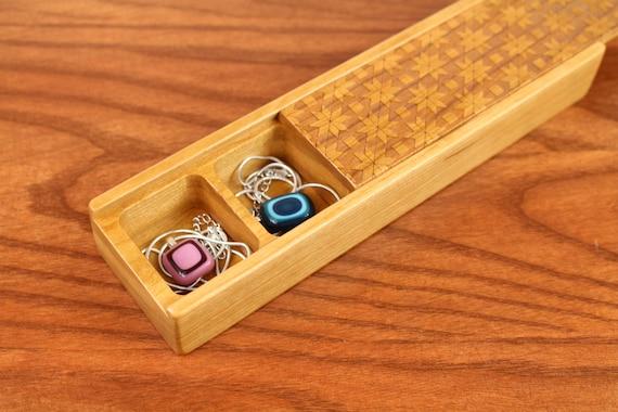 Jewelry Storage Box, Travel Jewelry Box, Solid Cherry Hardwood, Laser Engraved Quilt, Paul Szewc
