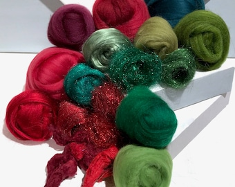 "Red & Green art batt KIT, Spinning kit, fiber, felting kit, DIY GIFT ""Holly"" Nuno Needle felting wool, green and red, blending kit"