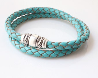 Turquoise Blue Leather Bracelet / Braided Leather Wrap Bracelet / Turquoise Double Wrap / Taylor