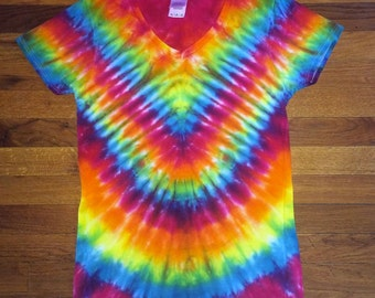 "Rainbow ""V"" Tie Dye T-shirt"