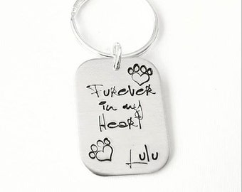 Furever In My Heart Keyring - Personalised with Pet Name - Pet Keyring