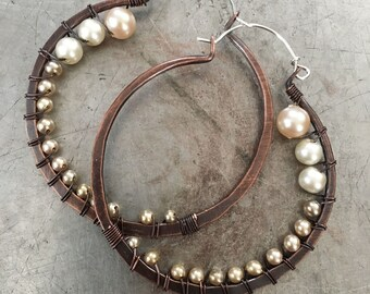 Extra Large Hoops, Copper Hoop Earrings, Copper Earrings, Pearl Earrings, Large Hoops, Rustic Jewelry, Daniellerosebean,  Hoop Earrings