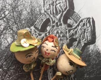 Three Vintage Spun Cotton Heads, Irish Theme, St. Patrick's Day, Long Red Braid, Shamrocks, Leprechauns, Made in Japan, 1960s, Cupcake Decor