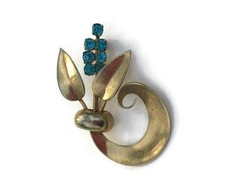 Vintage mid-century bouquet  brooch / Art Nouveau brooch / aquamarine brooch