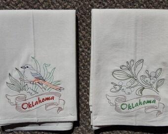 Oklahoma State Bird Scissor-Tailed Flycatcher & State Flower Mistletoe Flour Sack Towels