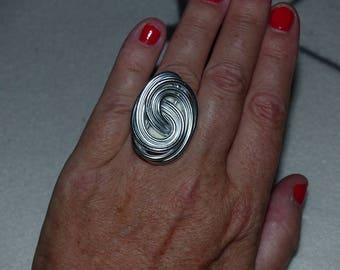 Silver aluminum ring size 54