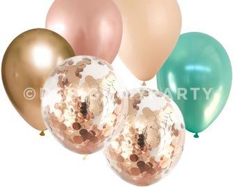 Mermaid Glam Rose Gold Copper, Gold Chrome Blush & Mint Confetti Balloons (12 Pack) DMP015