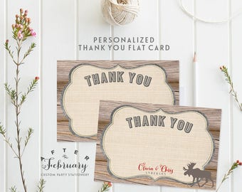 Personalized Moose Thank You Card Rustic Baby Shower Thank You Flat Card // Printable R No.1008RED