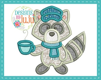 Cute Woodland Hipster Raccoon Applique - 4 sizes - Instant Download - Woodland Hipsters - Design Pattern