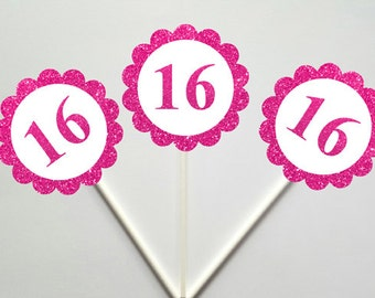 16th Birthday Cupcake Toppers, Sweet 16 Cupcake Toppers