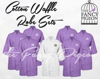 LAVENDER COTTON ROBES - Waffle Robe - Bride Robe - Personalized Robes - Monogrammed Robes - Getting Ready Robe - Bridal Robes - Kimono Robe