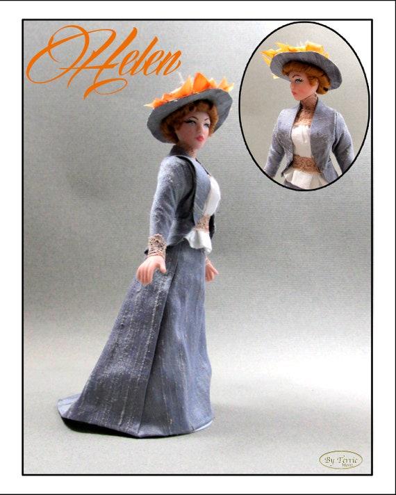 HELEN In 1890 Walking Dress OOAK Porcelain Miniature Doll 1:12 Scale Dollhouse Woman Doll 1 Inch 12th Scale House of Worth Silk Dress