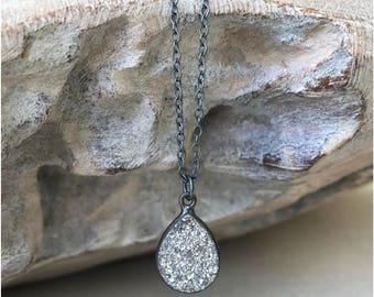 Druzy Necklace, Silver Druzy Necklace, Raw Silver Druzy Necklace, Raw Druzy Necklace, Raw Stone Necklace, Raw Stone Jewelry, Gift Women