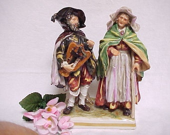 Early Capodimonte Porcelain Figure Of Old Woman Begging & Man With Musical Instrument, Vintage Home Decor Collectible Capo di Monte Figurine