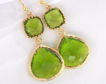 Green Earrings, Peridot Earrings, Apple Green Earrings, Gold Green Apple, Wedding, Bridesmaid Earrings, Bridal Jewelry, Bridesmaid Gifts