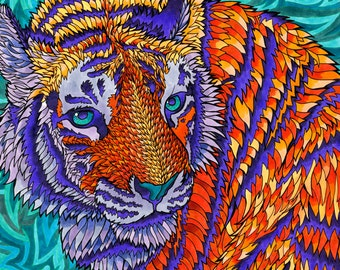 Telenergetic Tiger (Psychedelic Big Cat Trippy Feline Marker Drawing in Blue, Violet, Orange, Aqua and Turquoise)