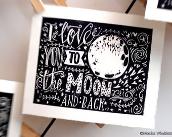 Love you to the Moon and back-original linocut blockprint original artwork