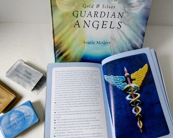 Gold and Silver Guardian Angel tarot cards and book set, 144 Card Deck and Soft cover Book by Angela McGerr, Angelic Fairy Realm Devination