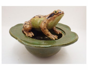 Common frog and beetle pot pourri bowl