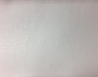 White Soft Skin Crocodile Vinyl Fabric - Sold By The Yard - 54""