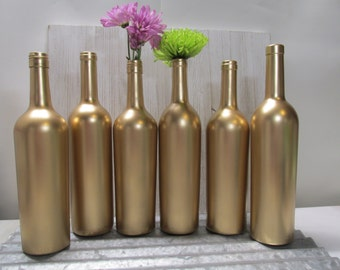 Painted Wine Bottle-Flower Vases- Matallic Gold - Set of 6- Rustic/Wedding/Baby Shower/Centerpieces/Bridal Shower/Reception