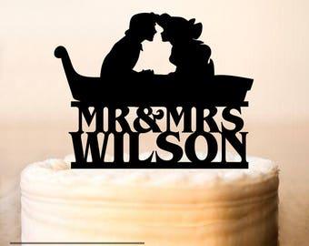 Princess Ariel and Prince Eric Cake Topper,Wedding Cake Topper,Little Mermaid Cake Topper,Princess and Prince Topper,Disney Wedding (0263)