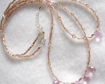 Golden Blush, pink quartz briolettes, golden shadow swarovski crystals and pink gold miyuki bead necklace