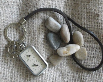 Pocket watch, keychain for men, keychain watch, dual timezone watch keychain, gift for men, unisex gift, Unique Gift by JuSal08