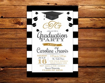 Monogram Graduation Invitation.Black & White Stripe. Graduation Party Invitation. Monogram Invitation. Black and Gold Graduation Invitation.