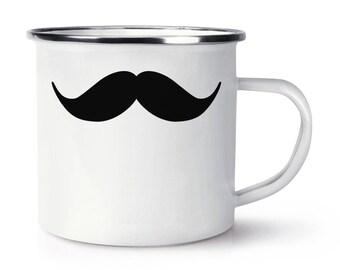 Handlebar Moustache Retro Enamel Mug Cup