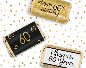 60th Birthday Party Decorations - Gold & Black - Happy 60 Birthday - Party Favor Stickers for Hershey's Miniature Bars, 54 Count