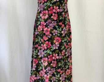 Vintage Velveteen Floral Maxi Dress