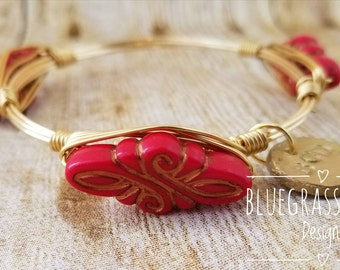 Bright red gold etched vintage beaded wire wrapped bangle, bracelet, Bourbon and boweties inspired