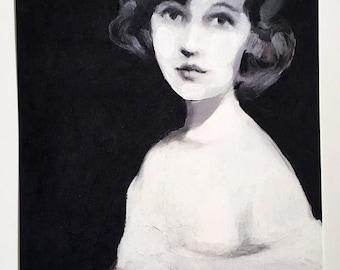 vintage lady on black background-Big print - woman PORTRAIT ART PRINT