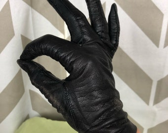 ON SALE 1940s Black Gloves | Kid Leather Gloves | Kay Fuchs Gloves | Vintage Black Gloves | Distressed Gloves