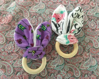 2 Wooden Ring Bunny Ear Teethers