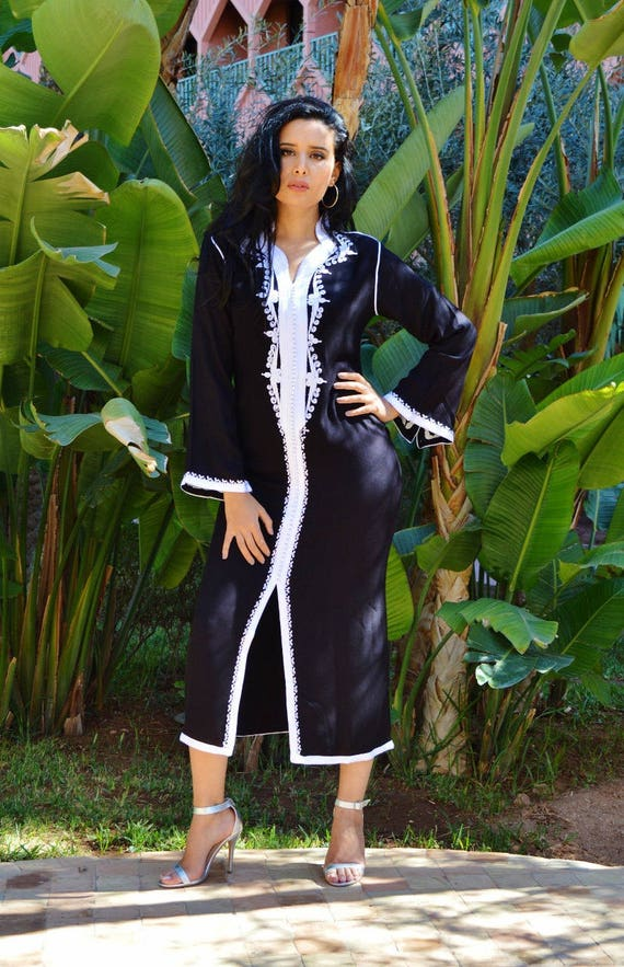 Black Kaftan Clothing Black with White Warda Moroccan Caftan Kaftan -maxi, resort, beach cover up, Birthdays, Moroccan, Maternity Gifts