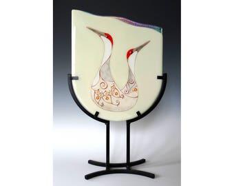 Sandhill Cranes Fused Glass Panel Table Art Love Birds Couple Anniversary 22K Gold Crane