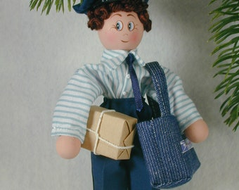 Postal Person Clothespin Doll Ornament; Mail Carrier Ornament; Post Office Worker Ornament