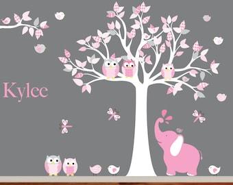 Wall decals nursery - Nursery wall decal - Elephant decal - Children Wall decal - Nursery Tree Decal