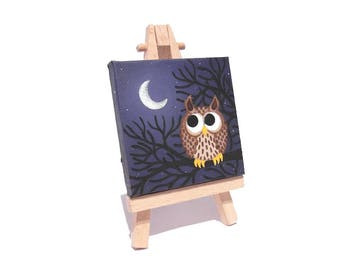 Long Eared Owl original art - miniature acrylic painting of a cute owl. Cartoon night scene with crescent moon on mini canvas with easel